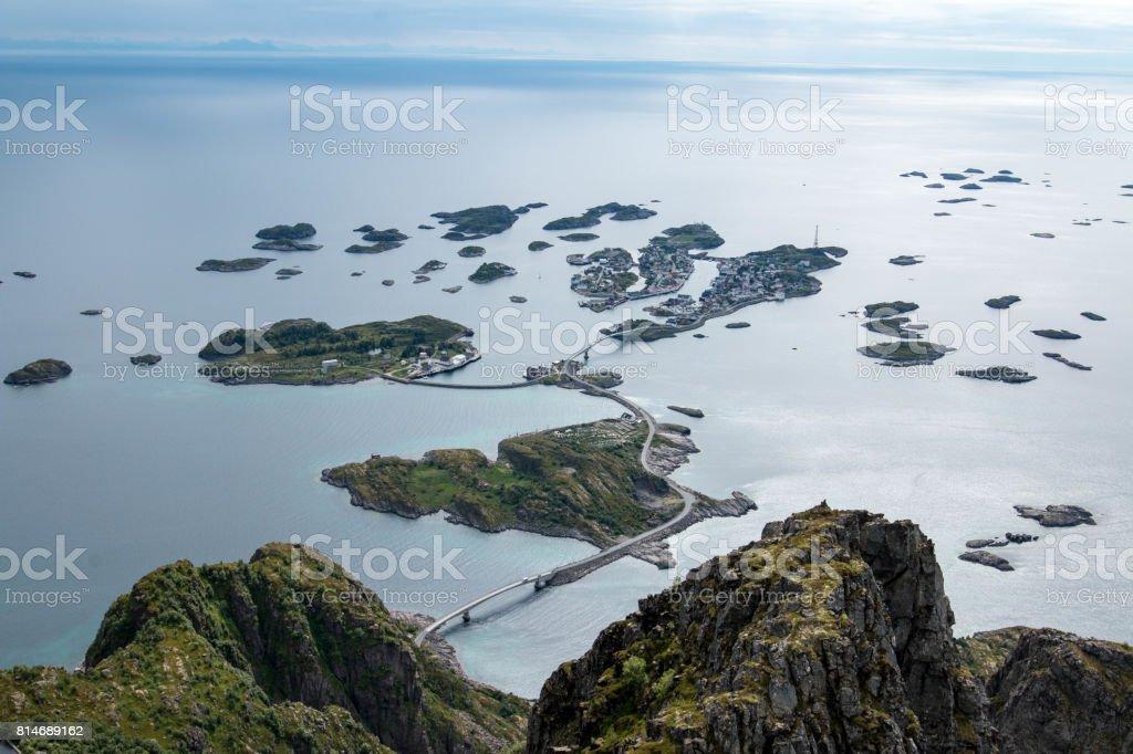 Henningsvaer fishing village in Lofoten, Norway stock photo