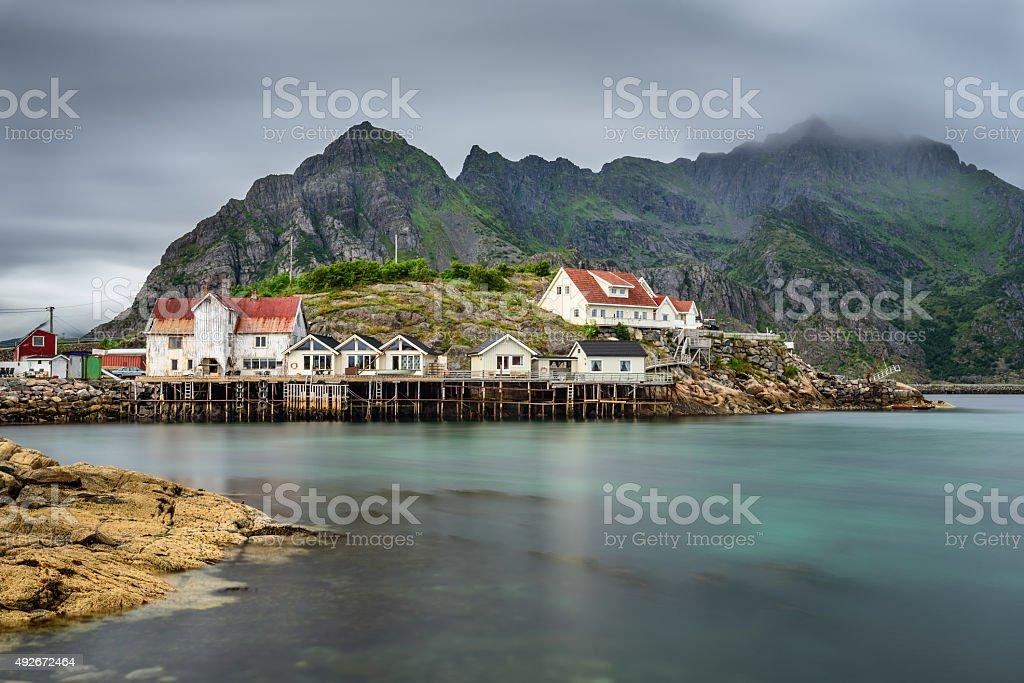 Henningsvaer,  fishing village in the Lofoten archipelago, Norway. stock photo