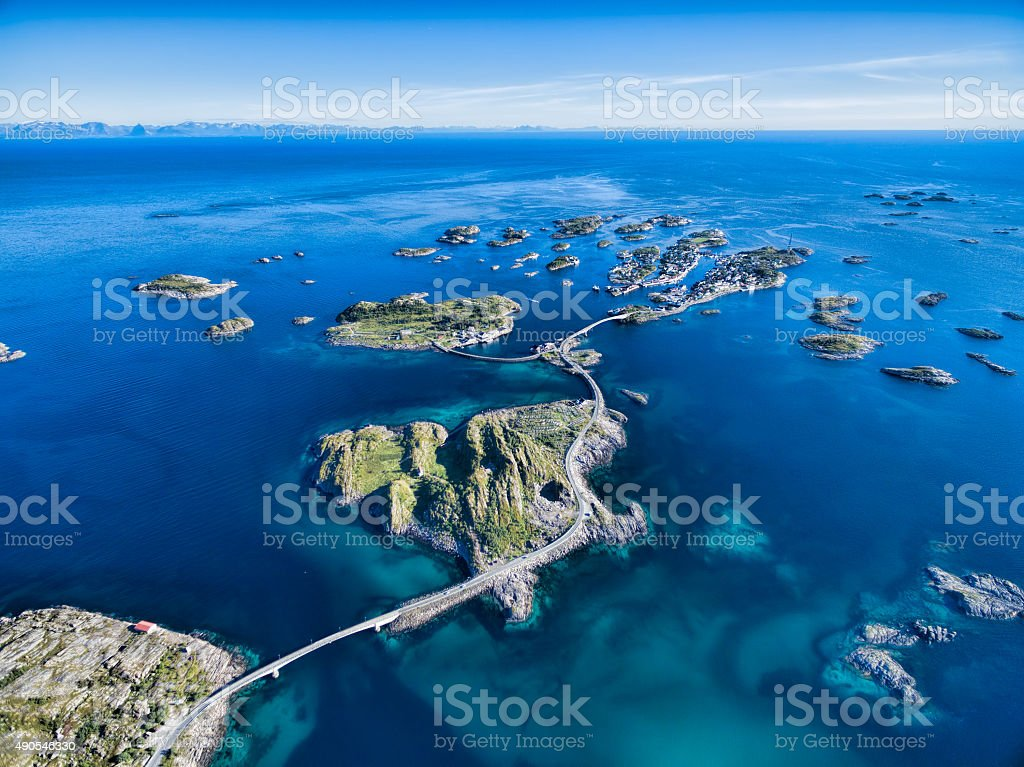 Henningsvaer from air stock photo