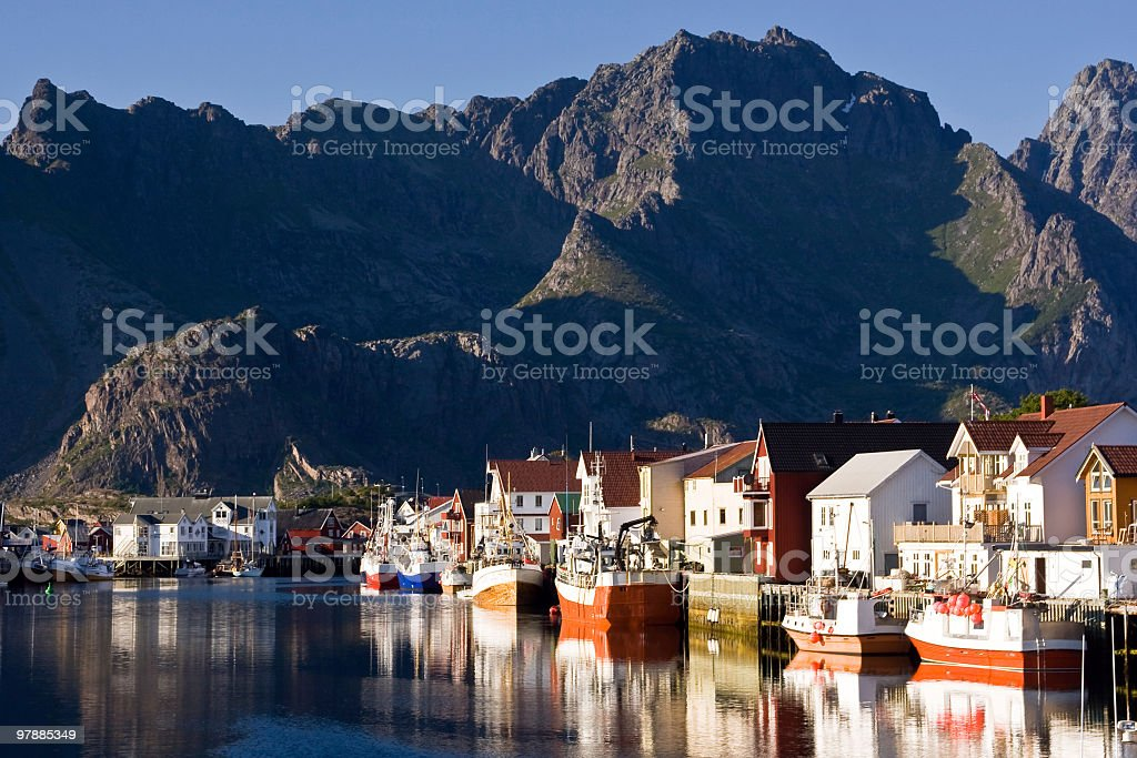 Henningsvaer Harbour in Lofoten royalty-free stock photo