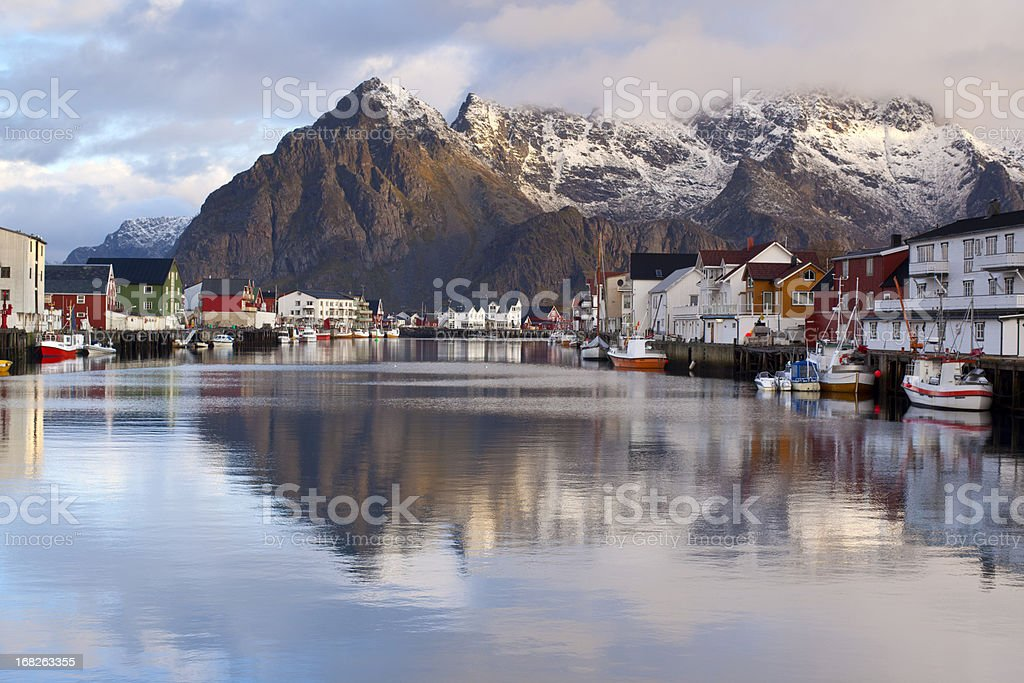 Henningsvaer Harbour royalty-free stock photo