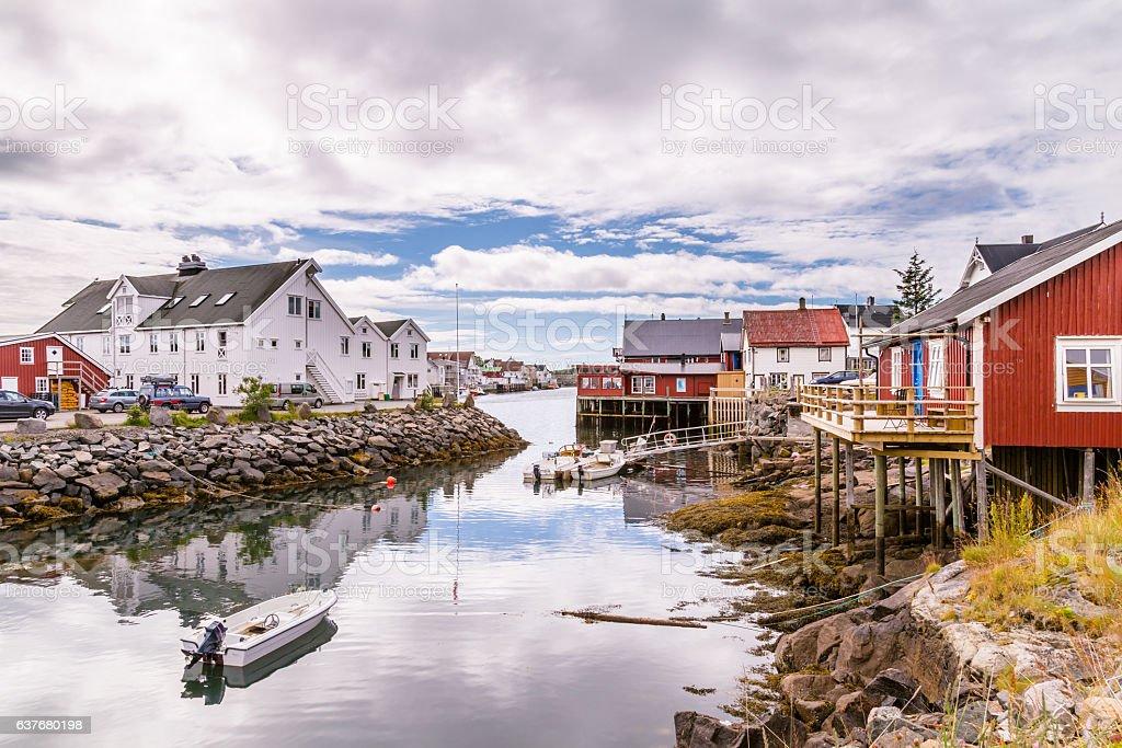 Henningsvaer on  Lofoten islands in Norway stock photo