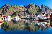 Henningsvaer, picturesque Norwegian fishing village in Lofoten islands