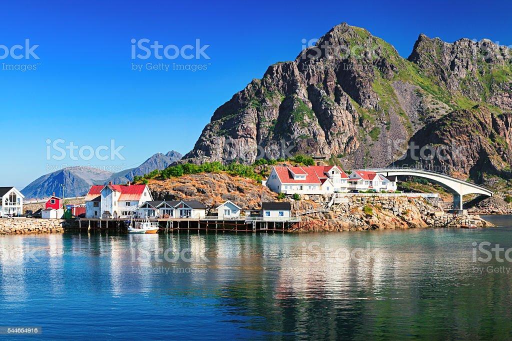Henningsvaer, picturesque Norwegian fishing village in Lofoten islands stock photo