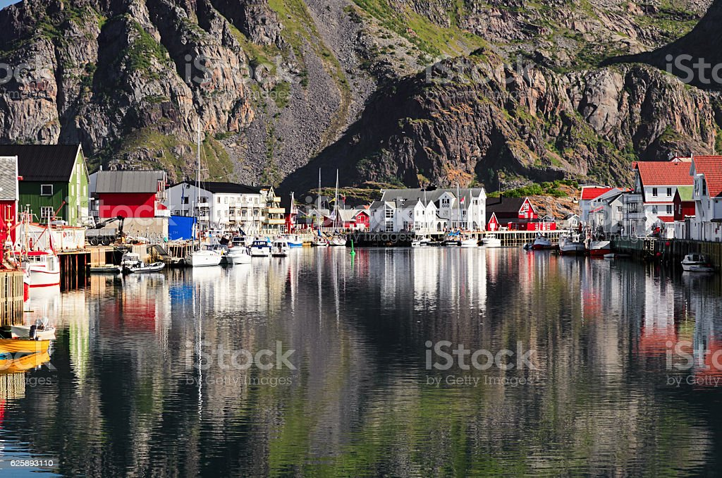 Henningsvaer, picturesque Norwegian fishing village in Lofoten islands stock photo