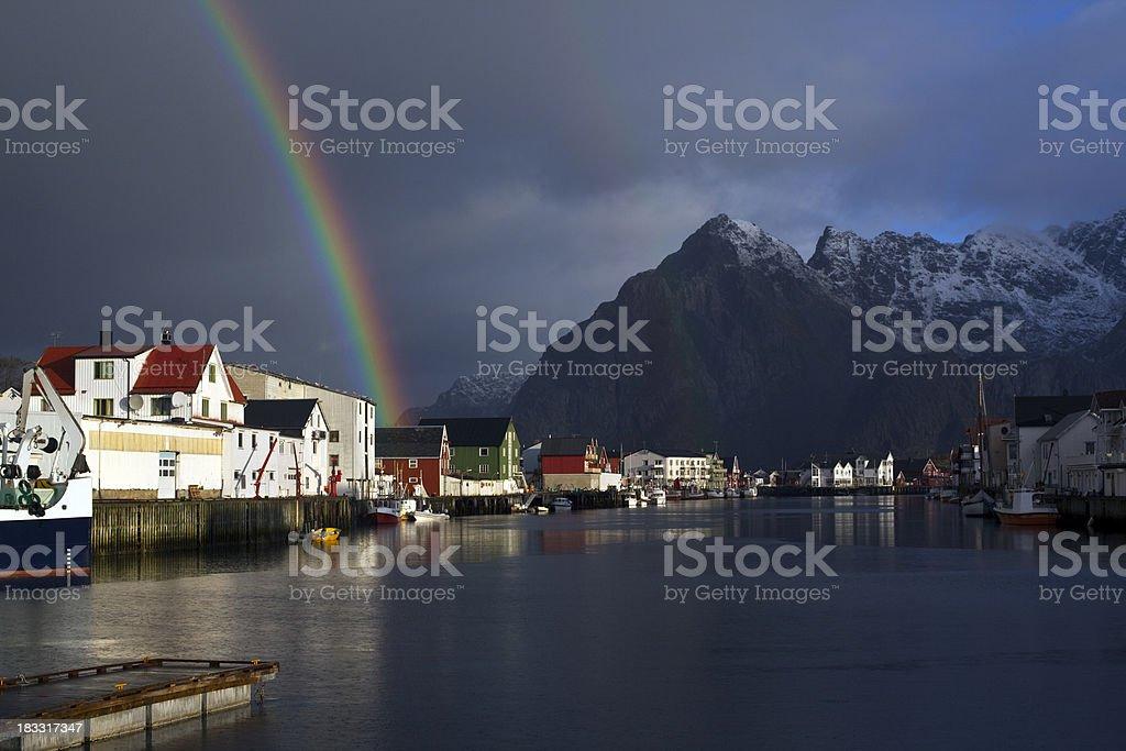 Henningsvaer Rainbow stock photo