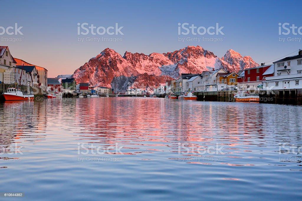 Henningsvær on the Lofoten in Norway at sunrise stock photo
