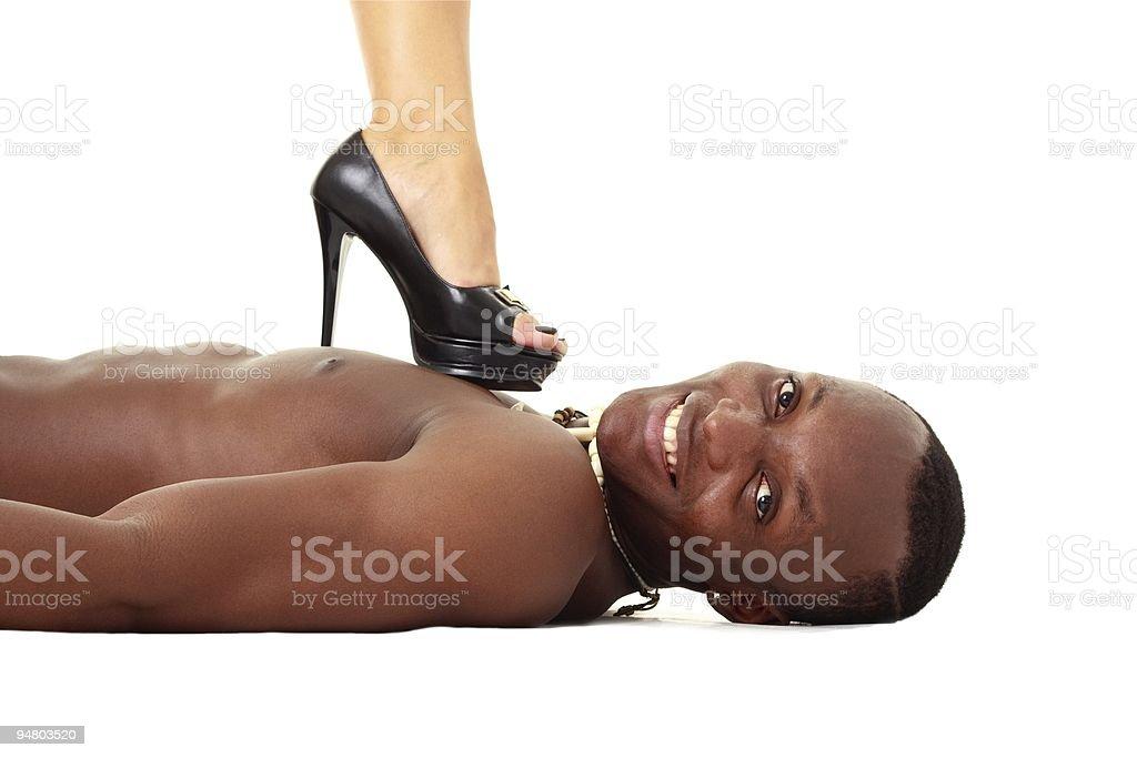 Henpecked husband stock photo
