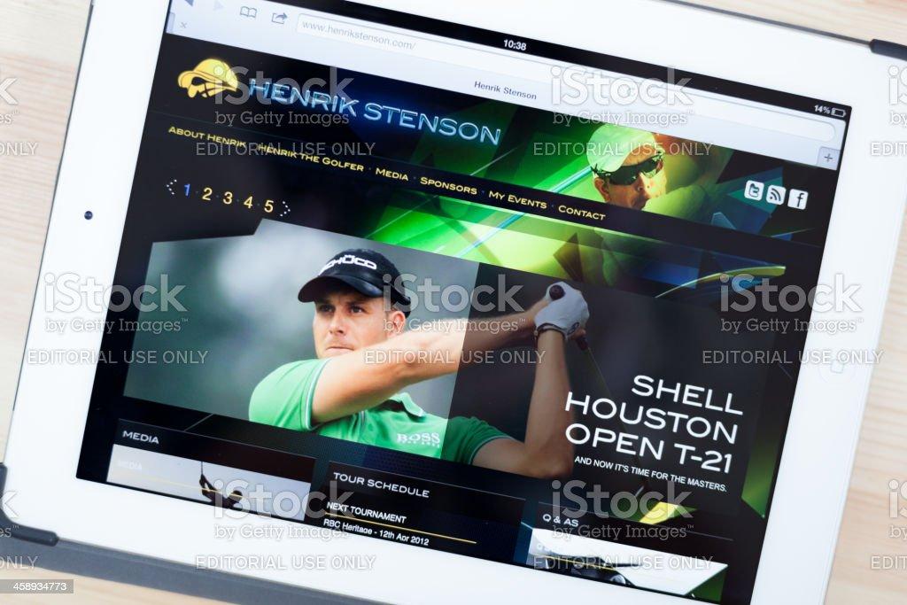 Henrik Stenson Website on iPad royalty-free stock photo