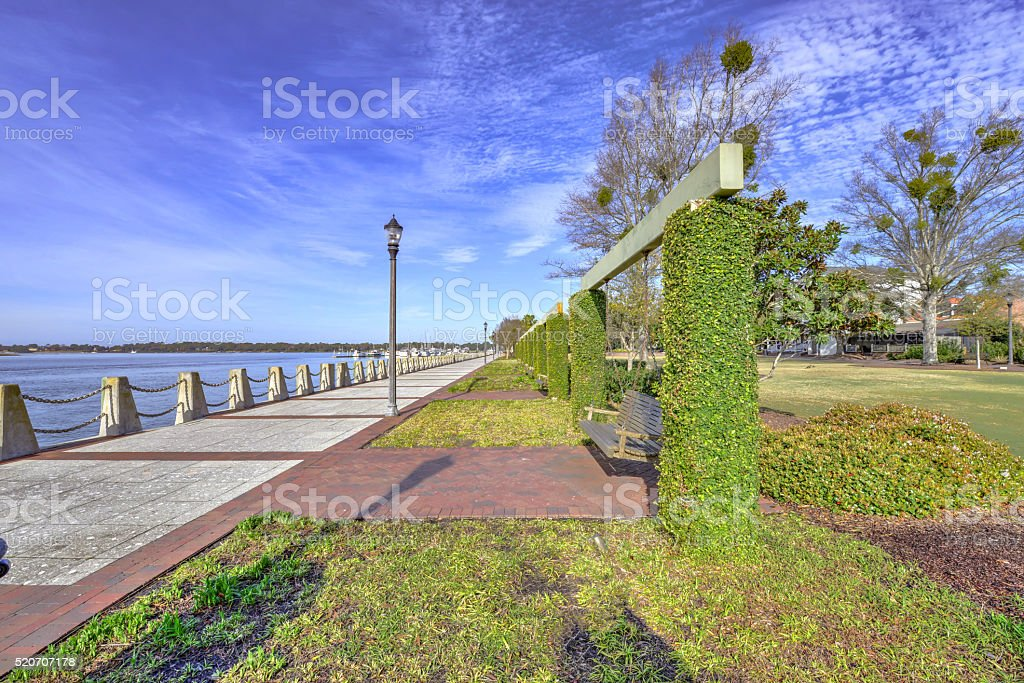 Henry C. Chambers Waterfront Park in Beaufort stock photo