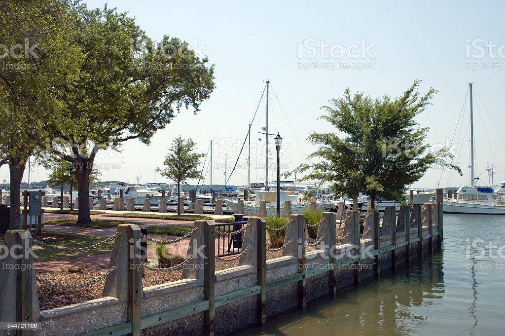Henry Chambers Waterfront Park and Boat Marina, Beaufort, South Carolina stock photo