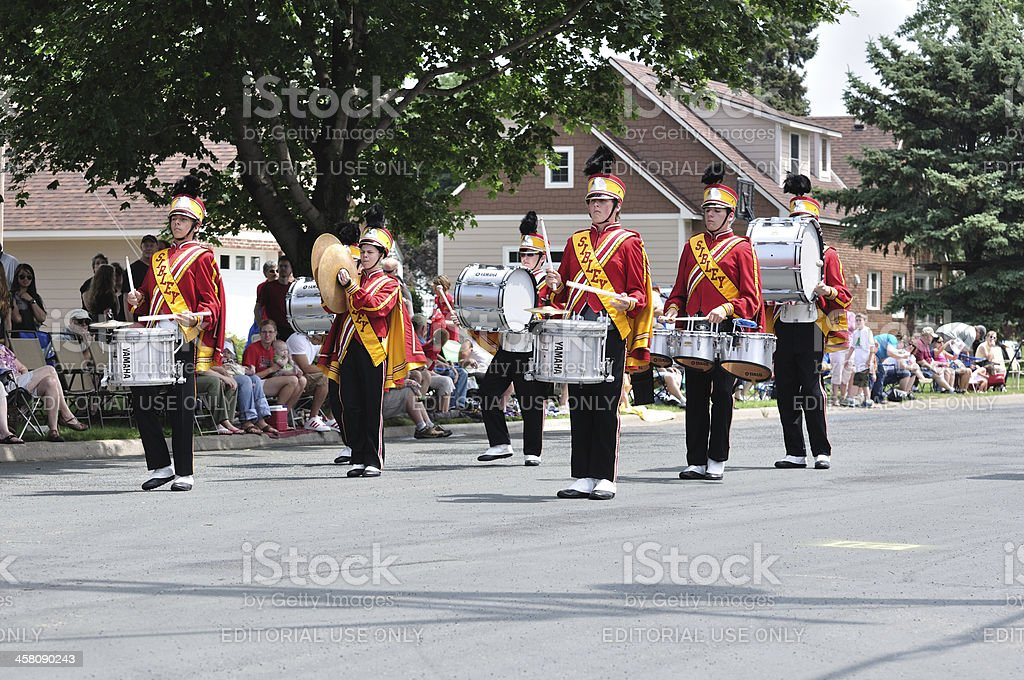 Henry Sibley High School Marching Band Drummers Performing in Parade stock photo