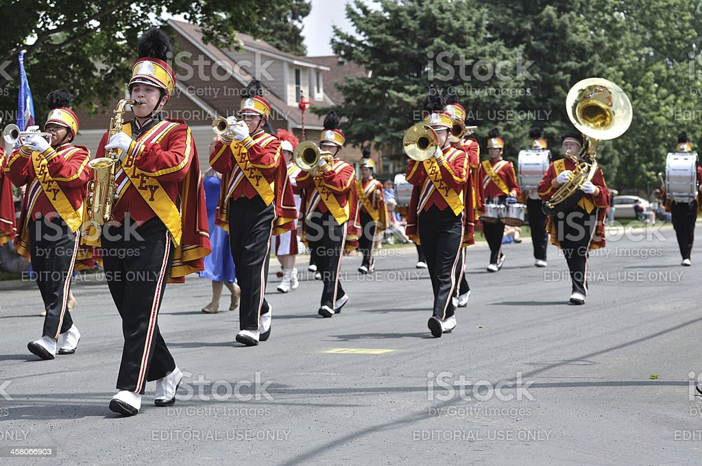 Henry Sibley High School Marching Band Performing in a Parade stock photo