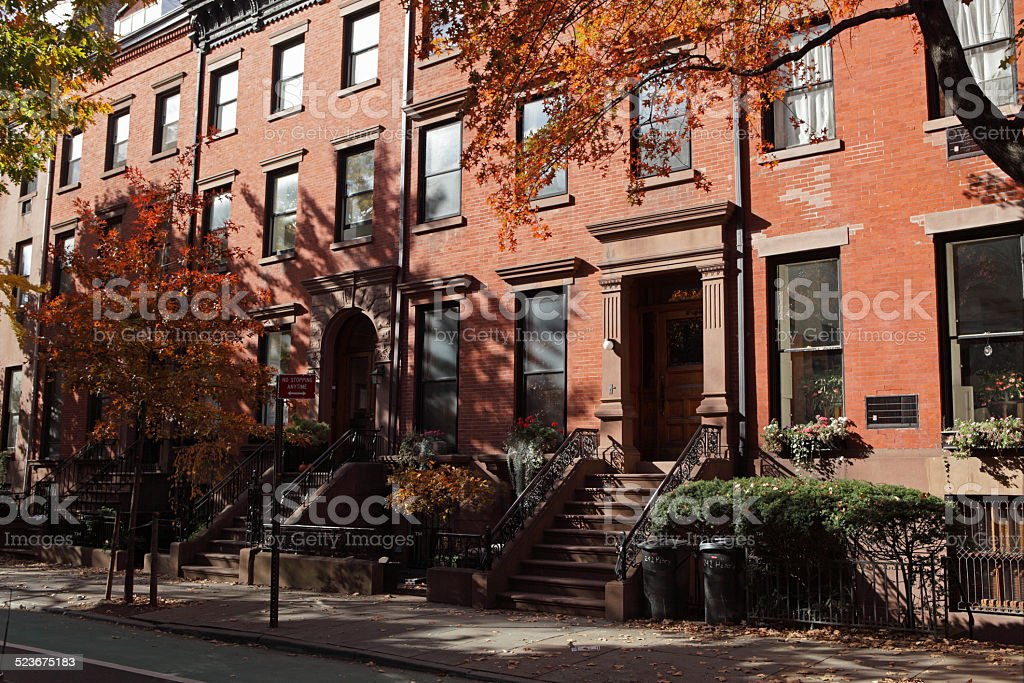 Henry Street in Brooklyn Heights historic district fall foliage colors stock photo
