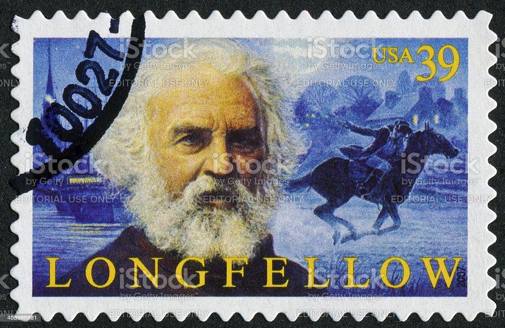 Henry Wadsworth Longfellow Stamp royalty-free stock photo