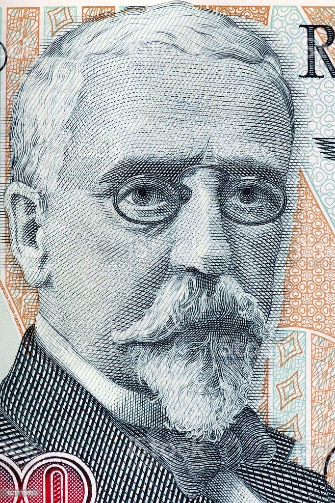 Henryk Sienkiewicz portrait from old five hundred thousand zloty stock photo