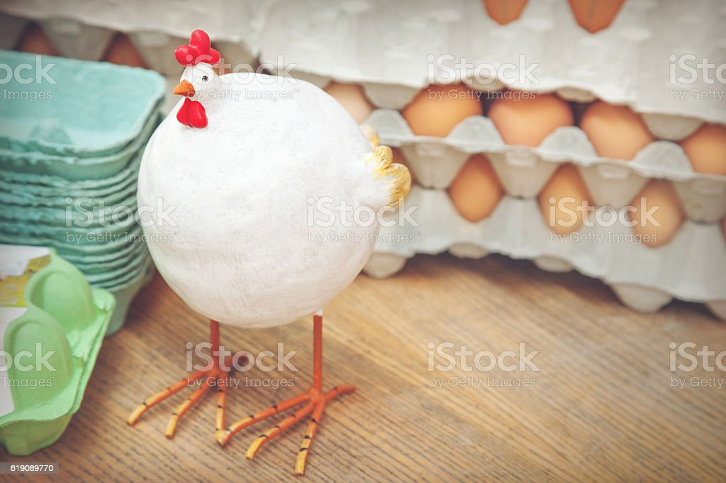 Hens and eggs stock photo