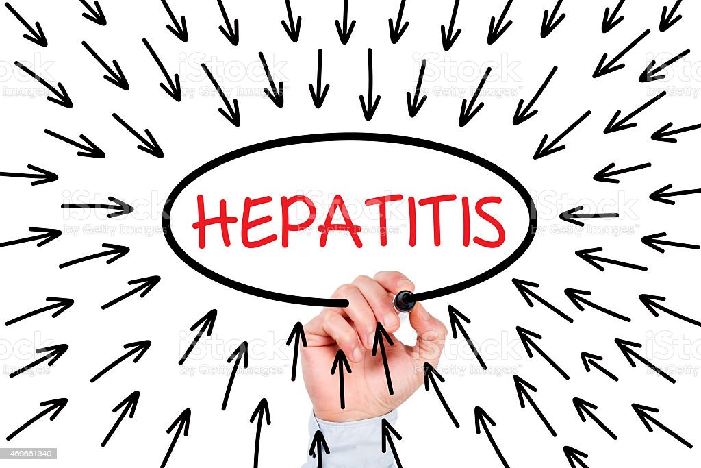 Hepatitis Concept on Whiteboard stock photo