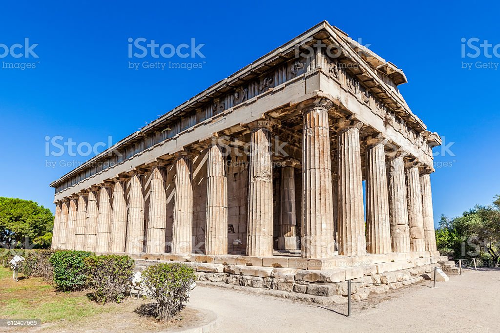 Hephaestus temple in Ancient Agora, Athens, Greece stock photo