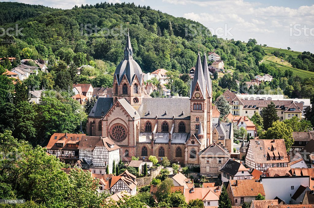Heppenheim with church in Germany stock photo