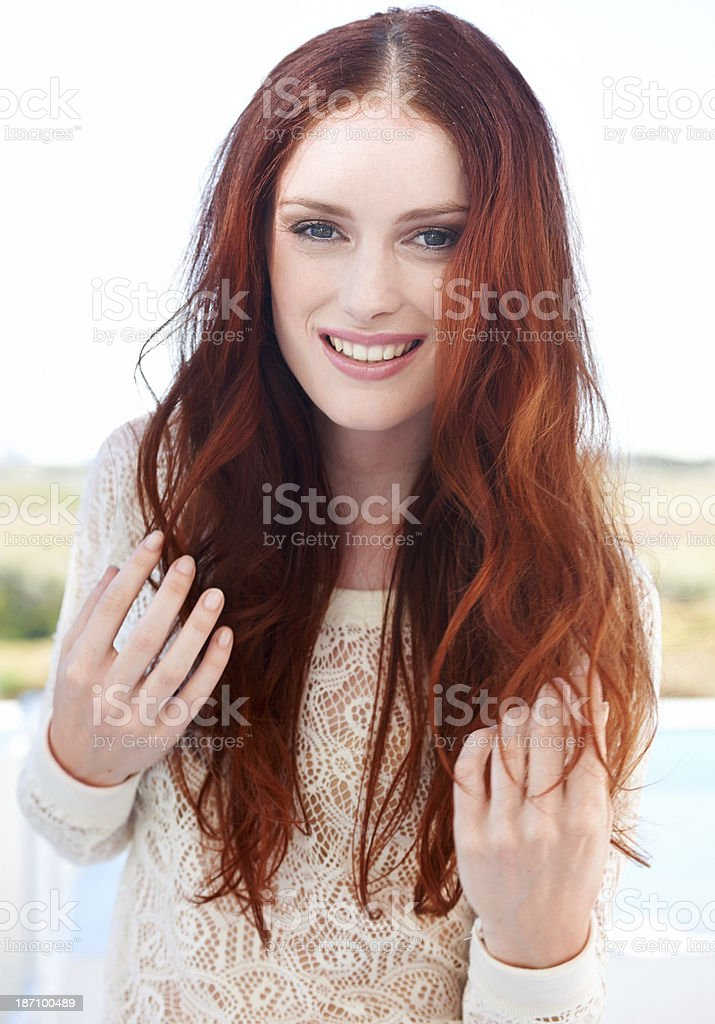 Her beauty brightens up the landscape royalty-free stock photo