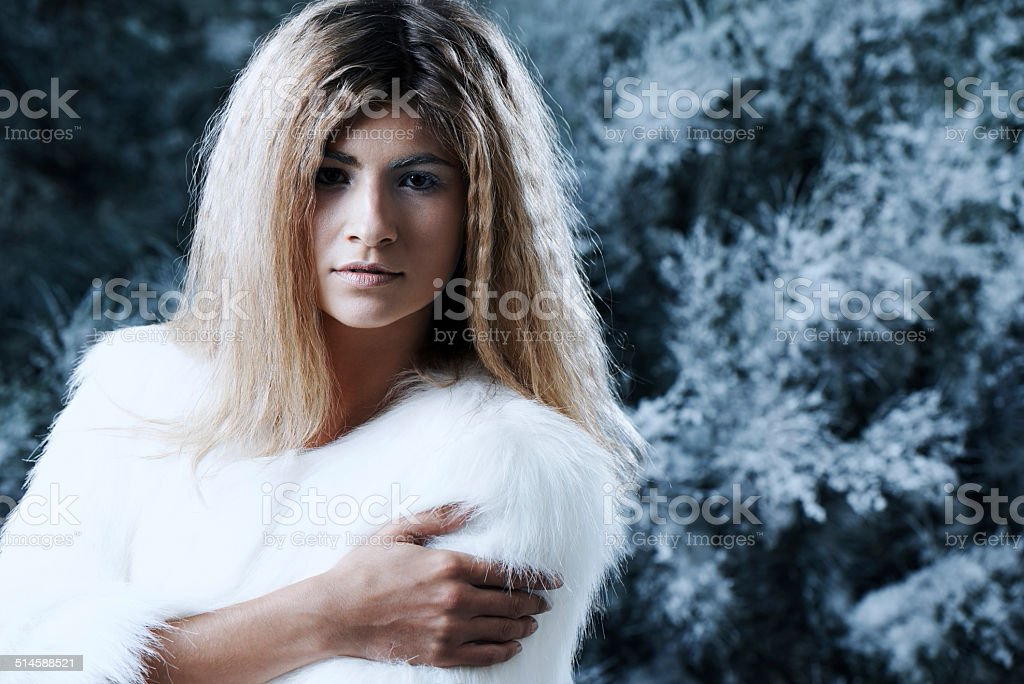 Her beauty makes winter warmer stock photo