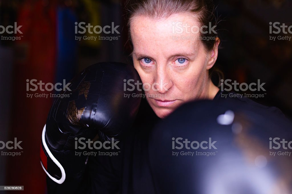 Her biggest opponent is herself stock photo