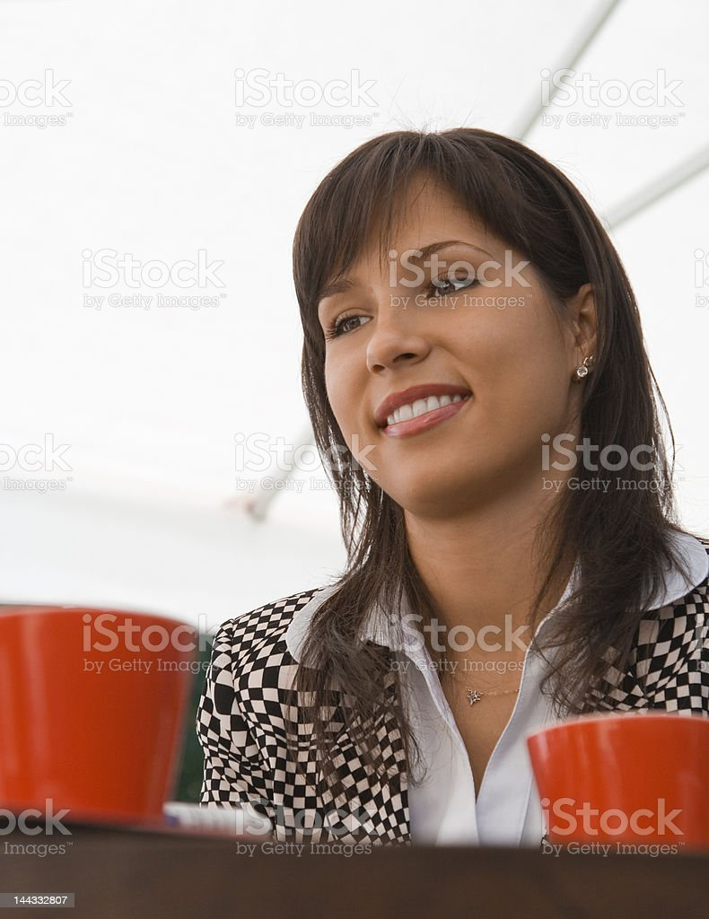 Her coffee meeting royalty-free stock photo