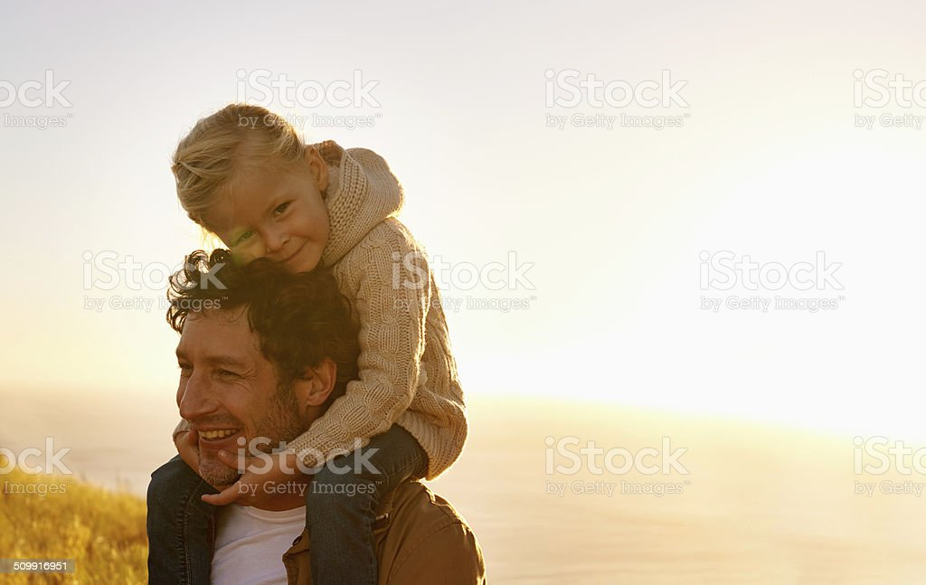 Her daddy and her hero stock photo