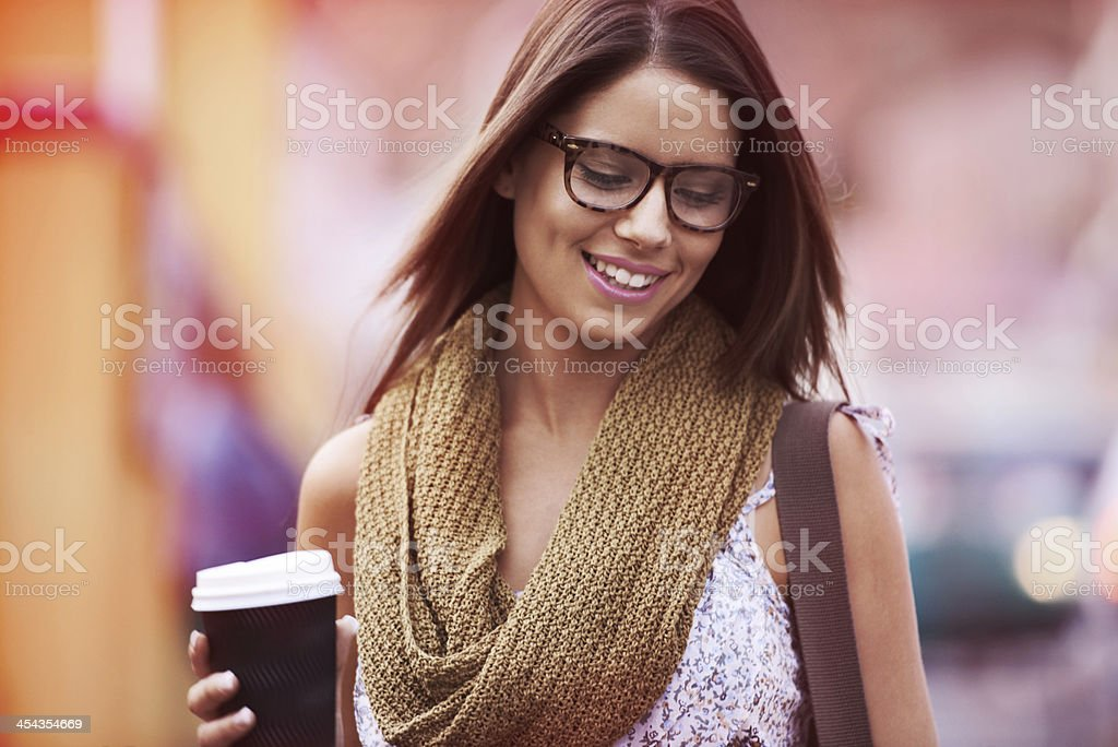 Her day isn't complete without a cup of coffee stock photo