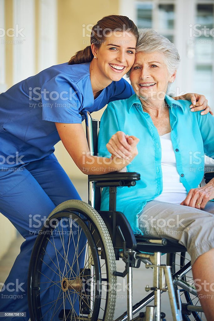 Her doctor makes her feel at home stock photo
