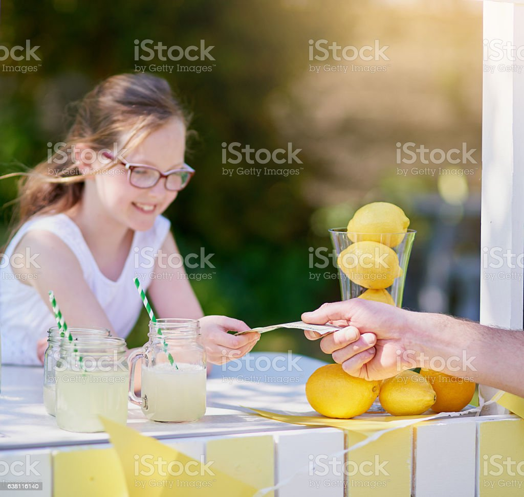 Her drinks are selling out fast stock photo