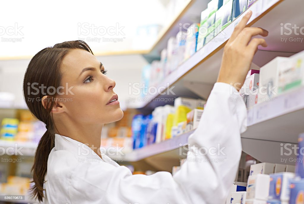 Her experience guarantees the perfect medication stock photo