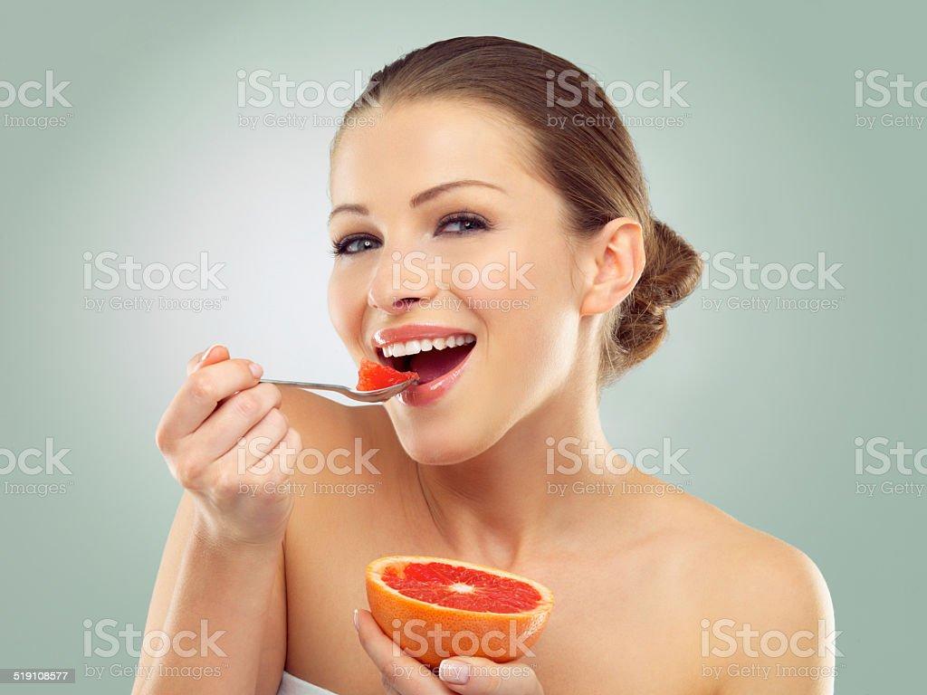 Her favorite citrus fruit stock photo