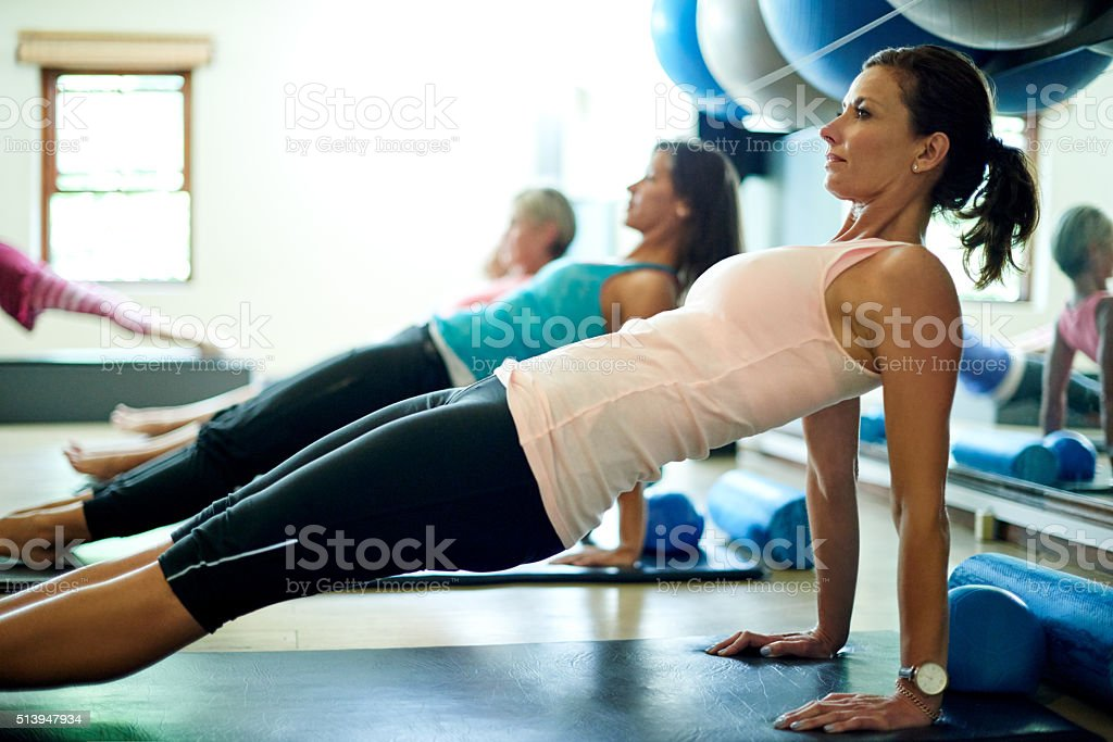 Her favorite way to stay lean and limber stock photo
