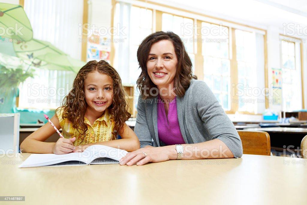 Her favourite teacher! stock photo