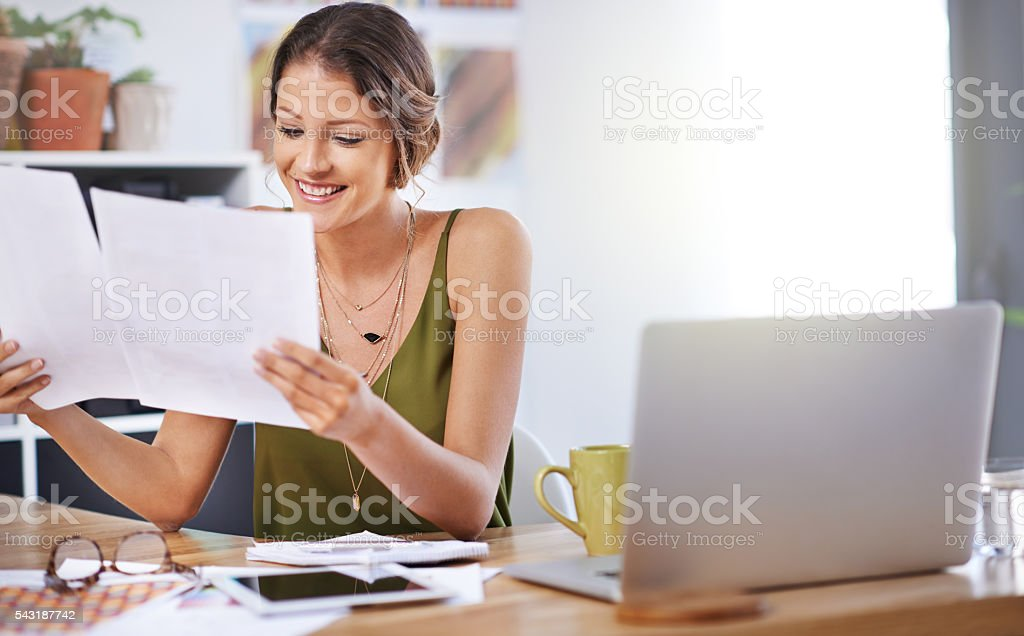 Her first big contract stock photo