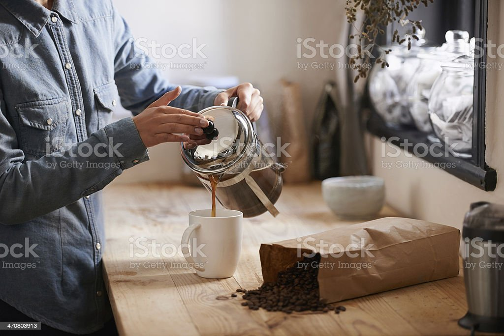Her first cup in the morning stock photo