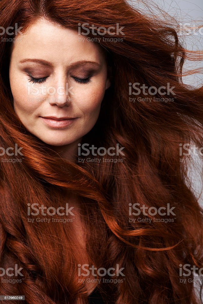 Her hair is full of life stock photo