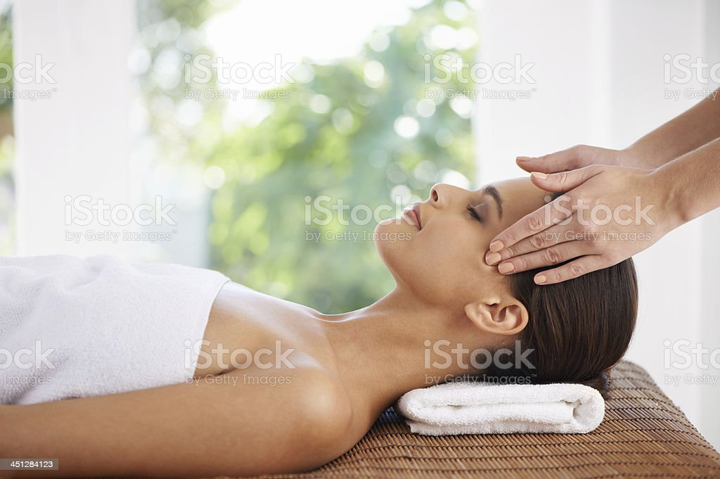 Her hands bring total relaxation stock photo