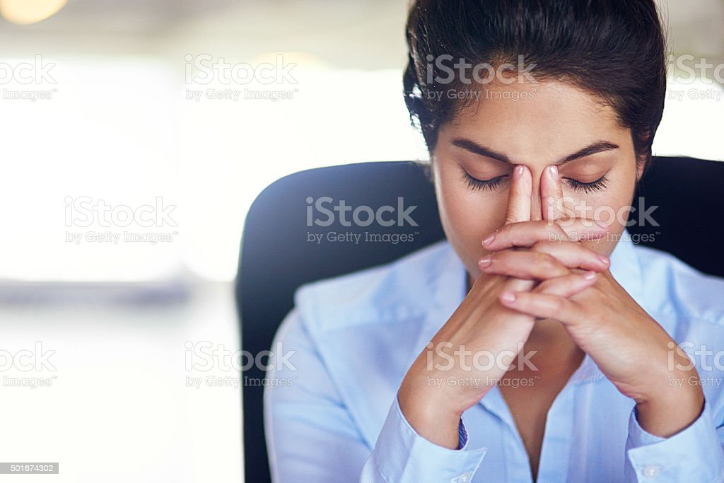 Her job can get quite hectic at times stock photo