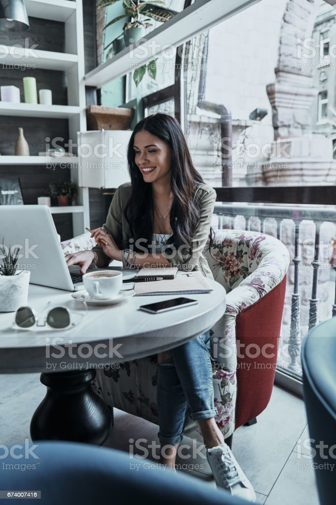 Her job is her hobby. stock photo