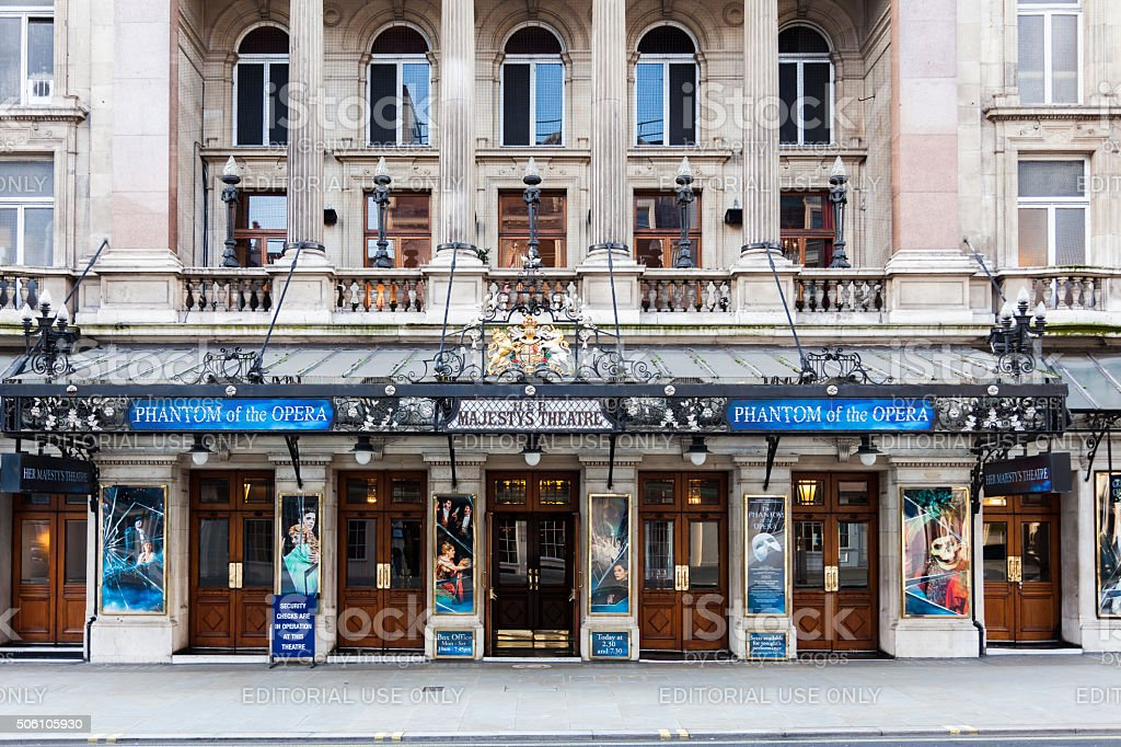 Her Majestys Theatre showing Phantom of the Opera stock photo