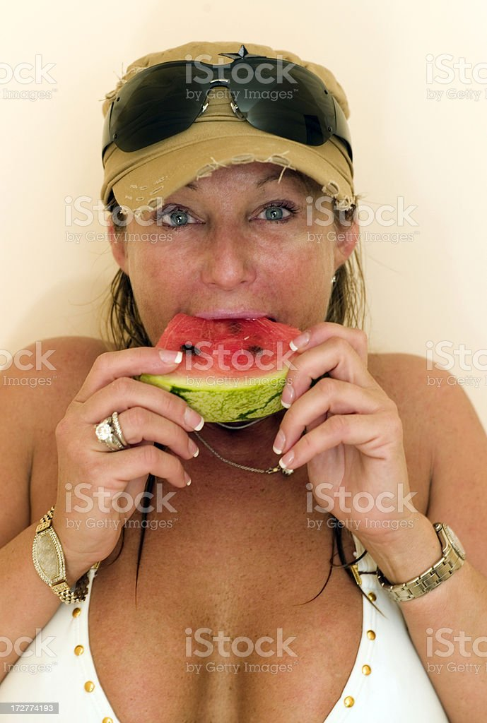 Her melon royalty-free stock photo