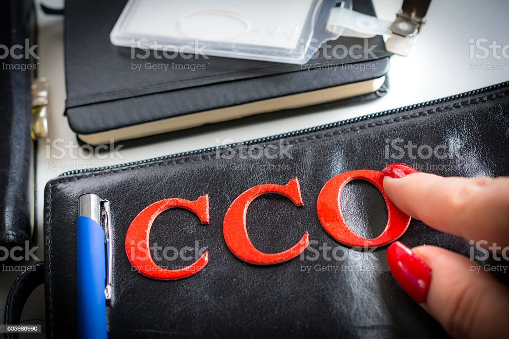 Her new CCO job after breaking the glass ceiling stock photo