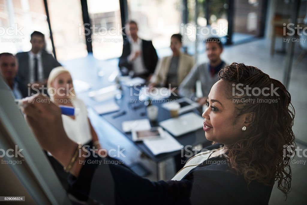 Her presentation is perfect stock photo