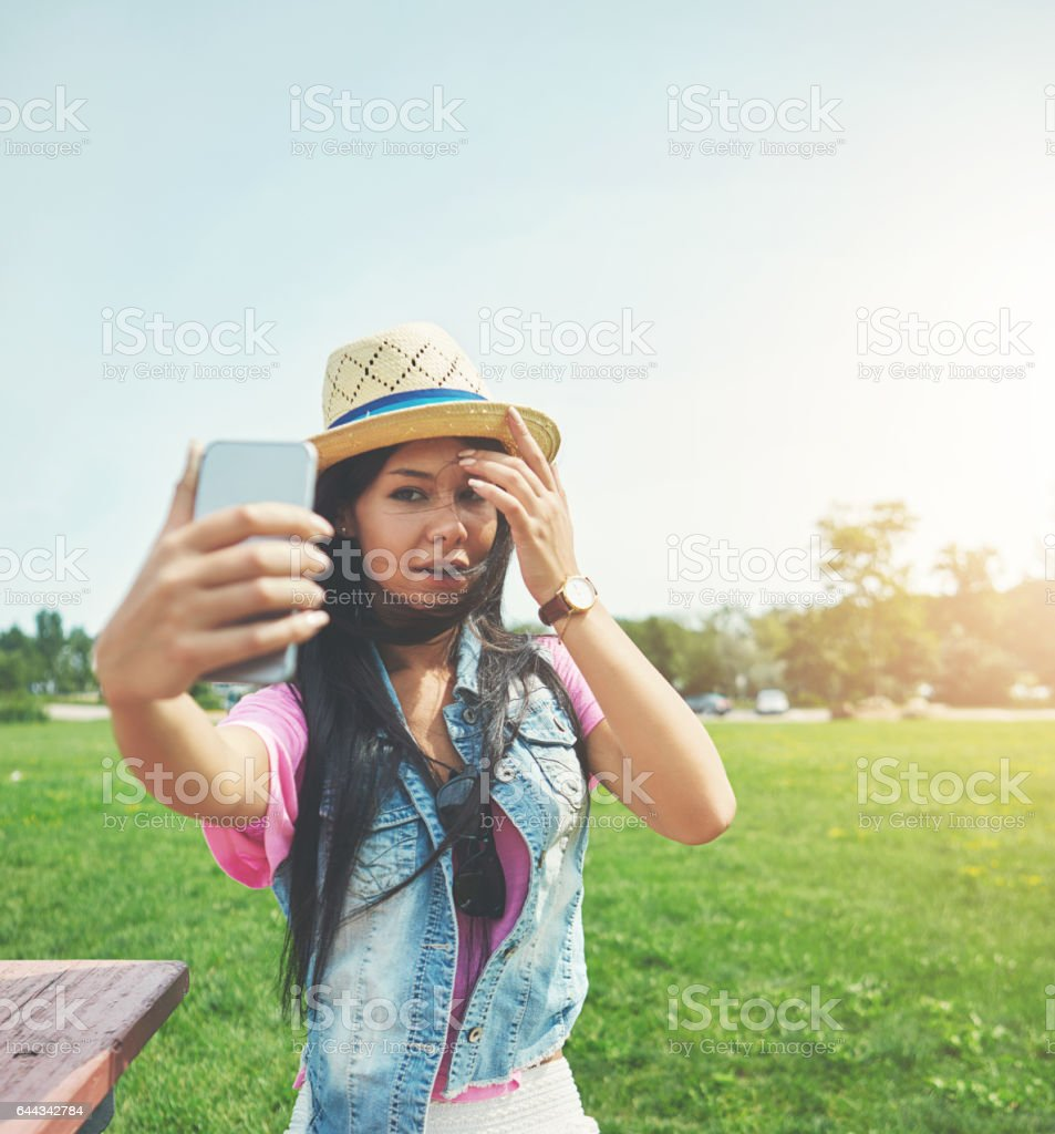 Her selfie game is strong stock photo