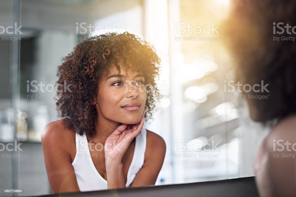Her skin's as perfect as ever stock photo