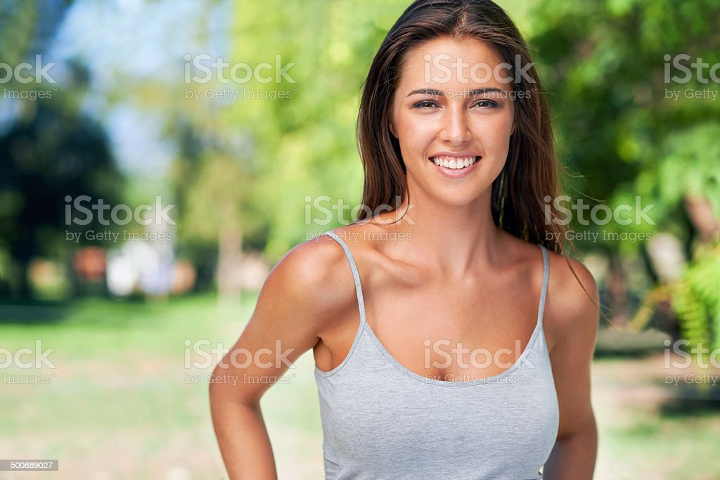 Her smile is the best make-up she could can wear stock photo
