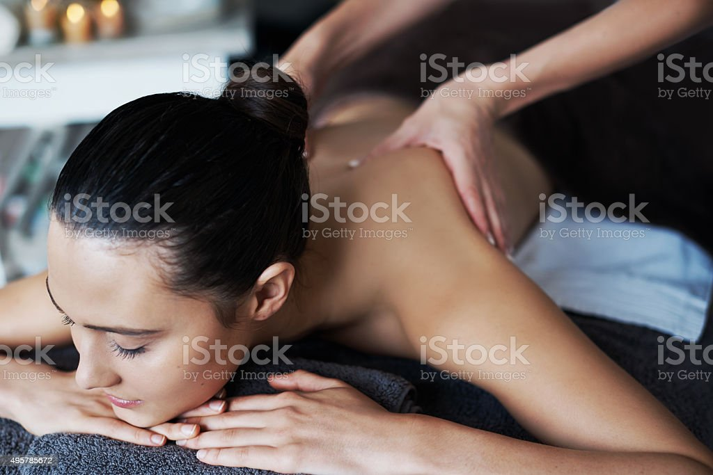 Her stress relief is in good hands stock photo